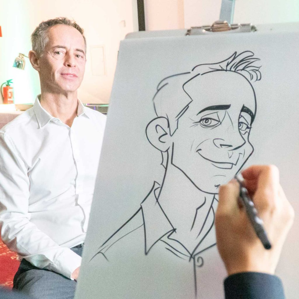 Caricature Artist, Karikaturist und Schnellzeichner Xi Ding, für Messen in Wien, for trade shows, exhibitions and conferences in Vienna, Linz, Salzburg.